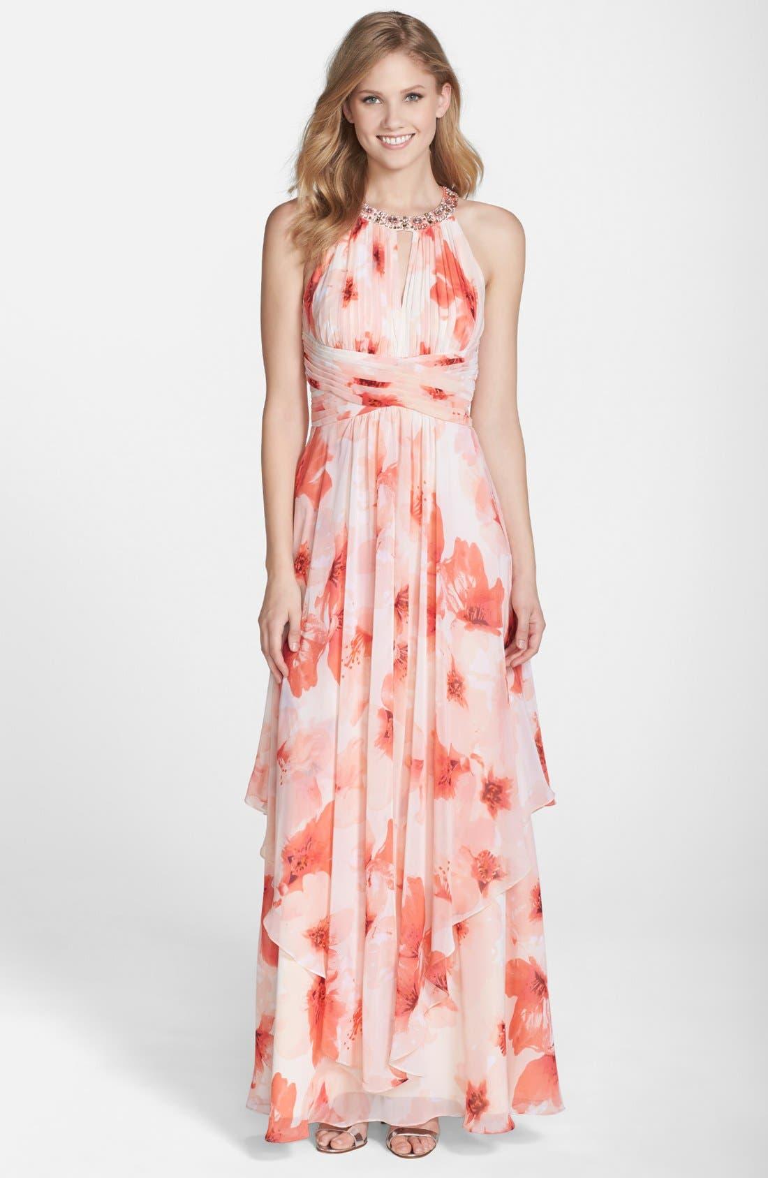 Alternate Image 1 Selected - Eliza J Embellished Floral Print Chiffon Gown (Regular & Petite)