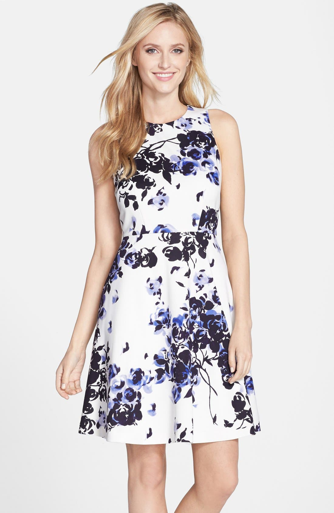 Alternate Image 1 Selected - Donna Morgan Floral Print Scuba Fit & Flare Dress