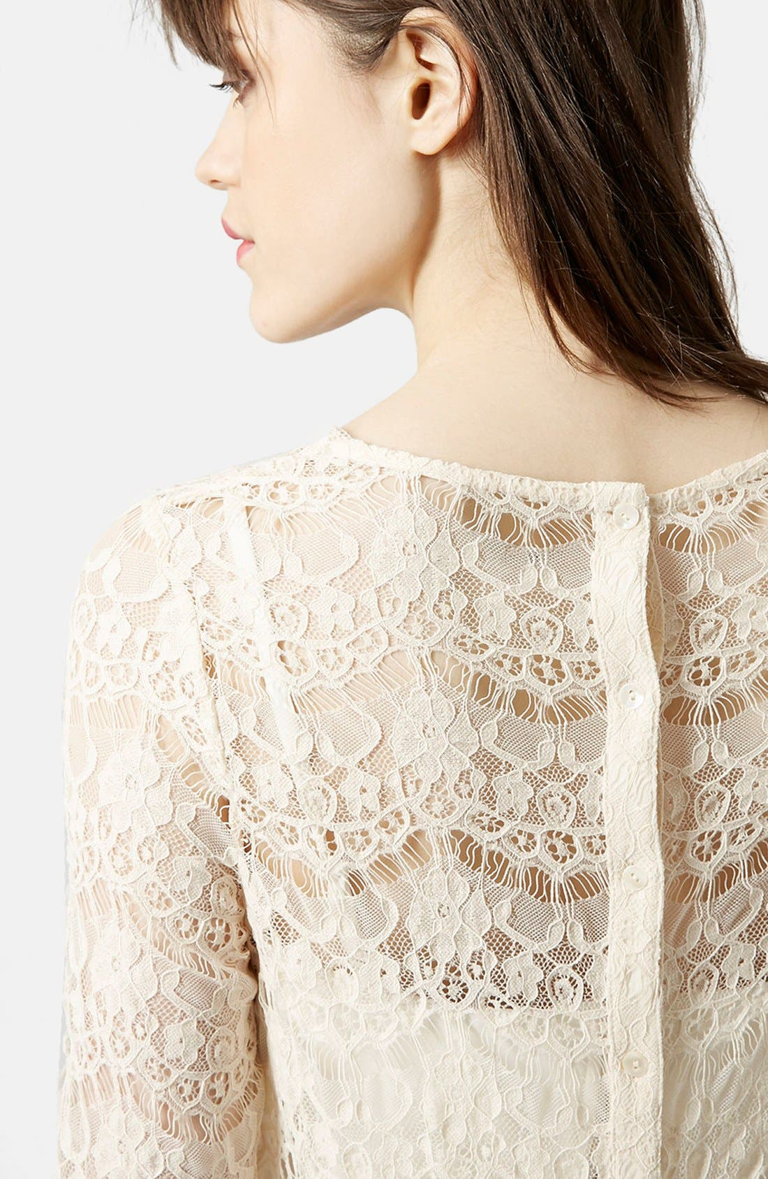 Alternate Image 4  - Topshop Long Sleeve Lace Top