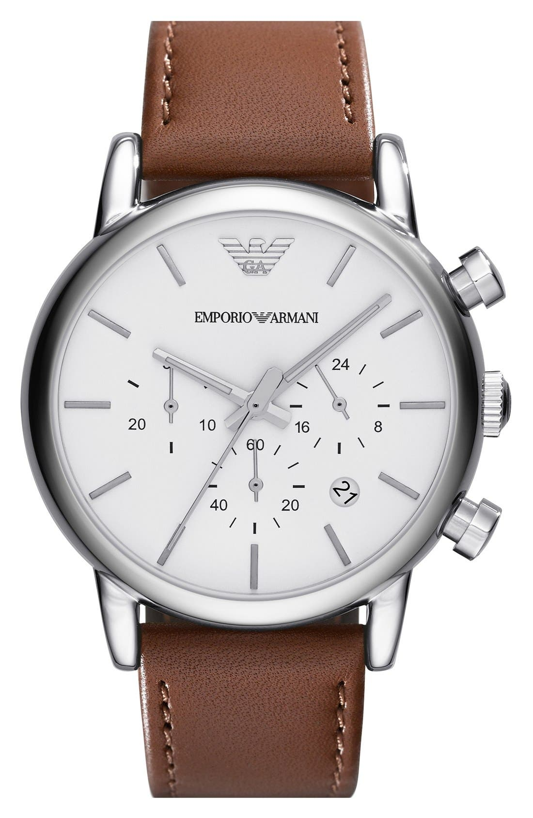 Main Image - Emporio Armani Chronograph Leather Strap Watch, 41mm