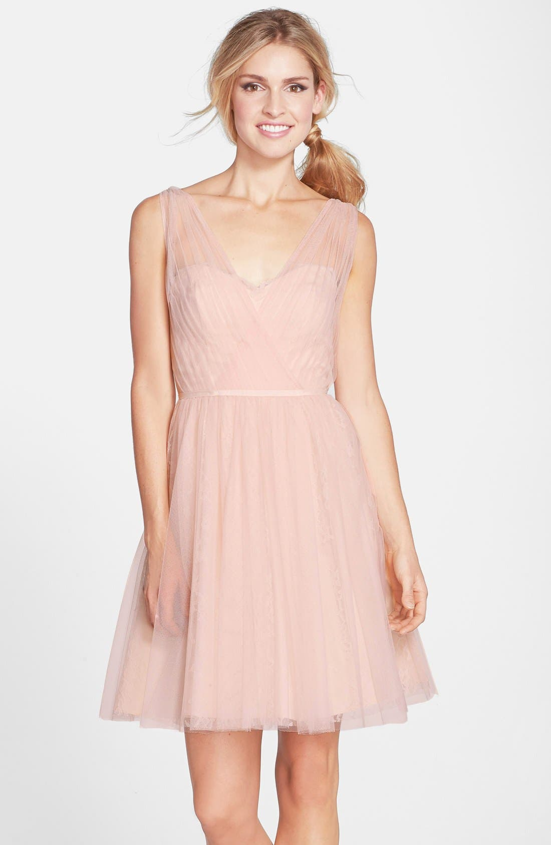 MONIQUE LHUILLIER BRIDESMAIDS Tulle Overlay Lace Fit &