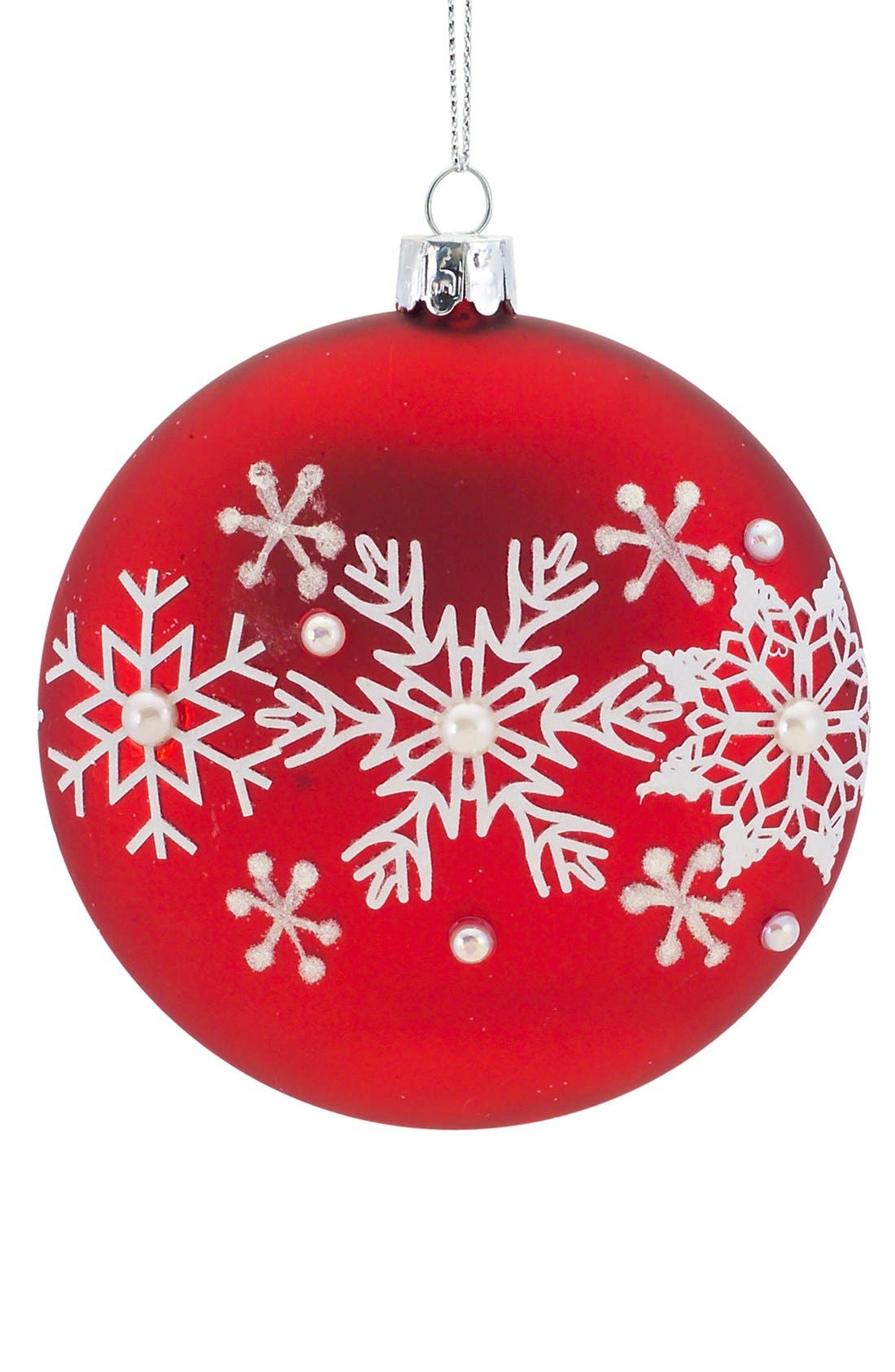 Main Image - Melrose Gifts Beaded Snowflake Round Ornament