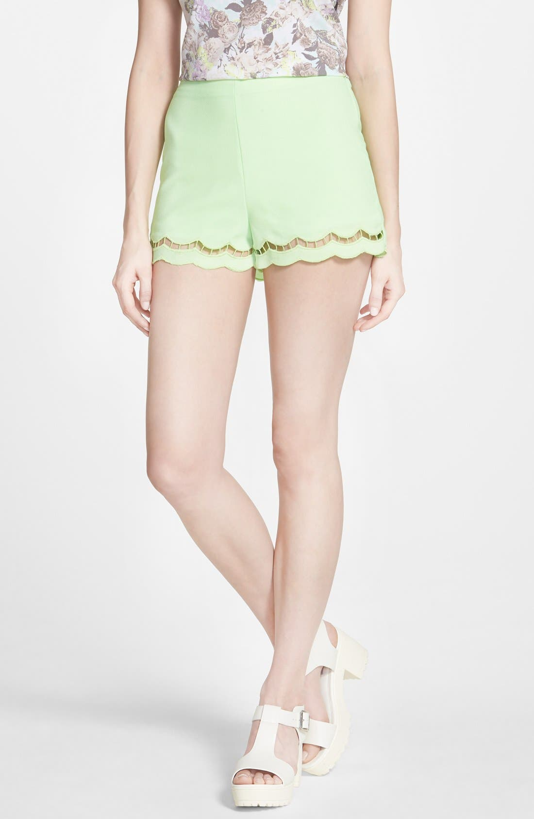 Alternate Image 1 Selected - Lush Scallop Trim Shorts