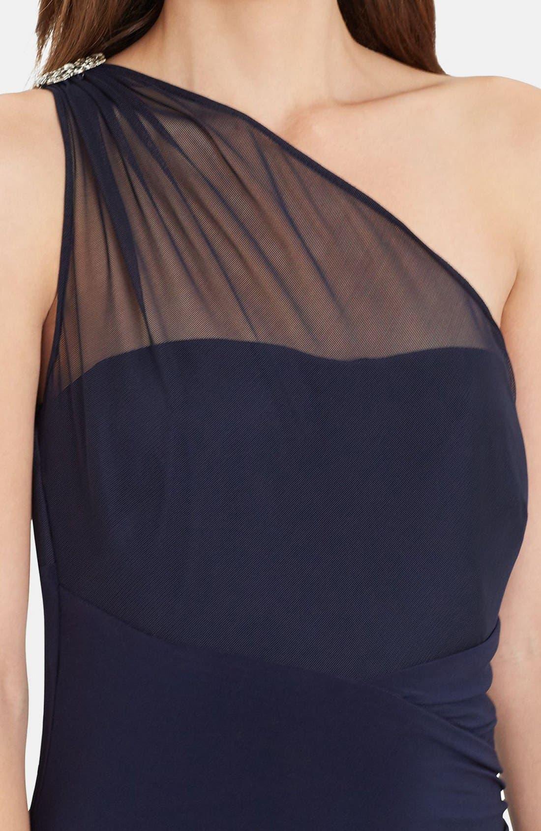 Alternate Image 3  - Lauren Ralph Lauren Embellished One-Shoulder Jersey Column Gown