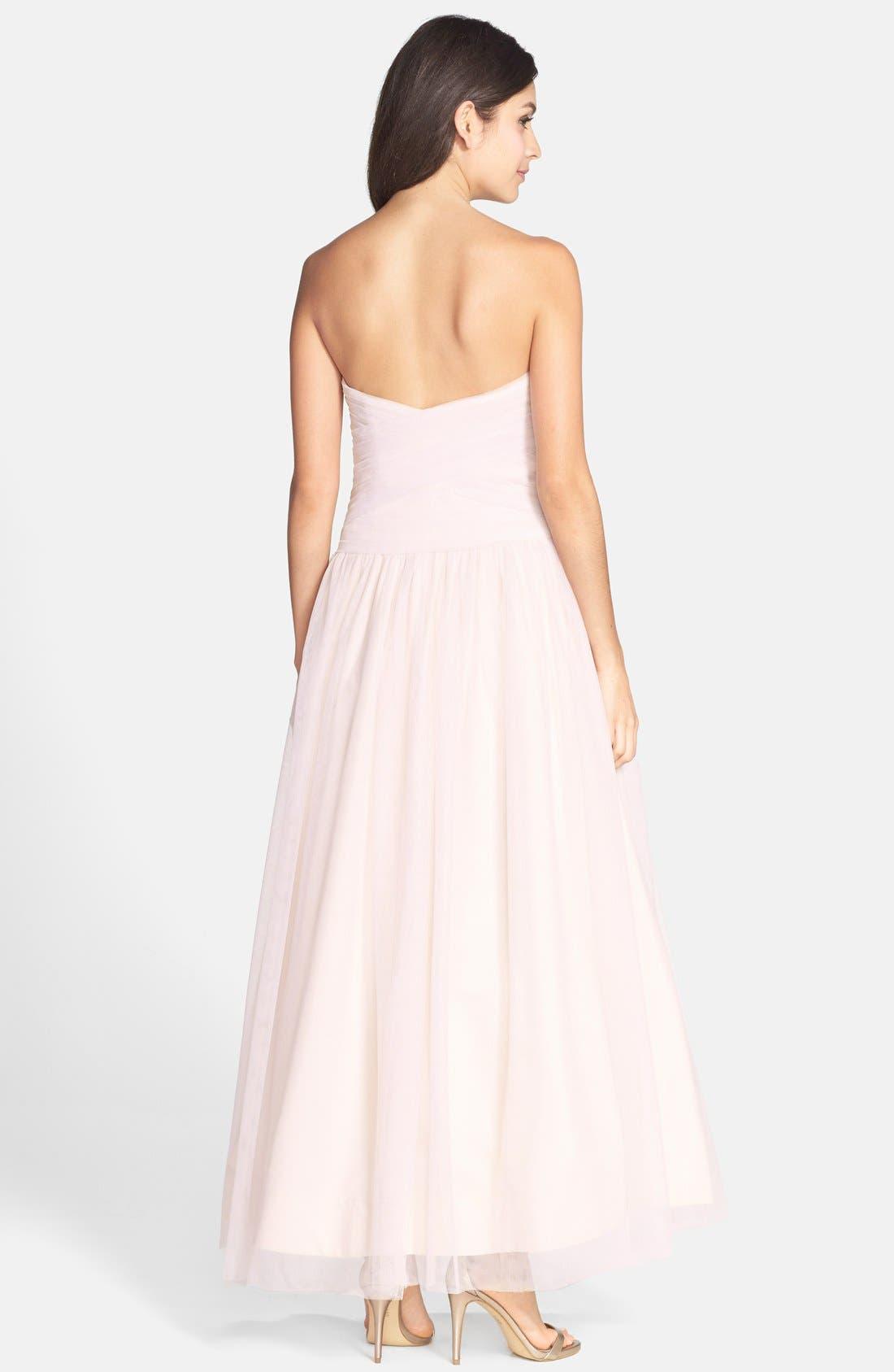 Alternate Image 2  - Monique Lhuillier Bridesmaids Tulle Tea Length Dress