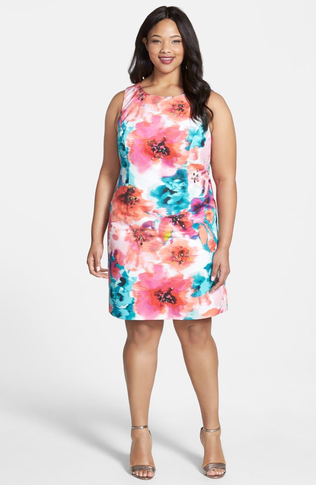 Alternate Image 4  - Eliza J Floral Print Sheath Dress (Plus Size)