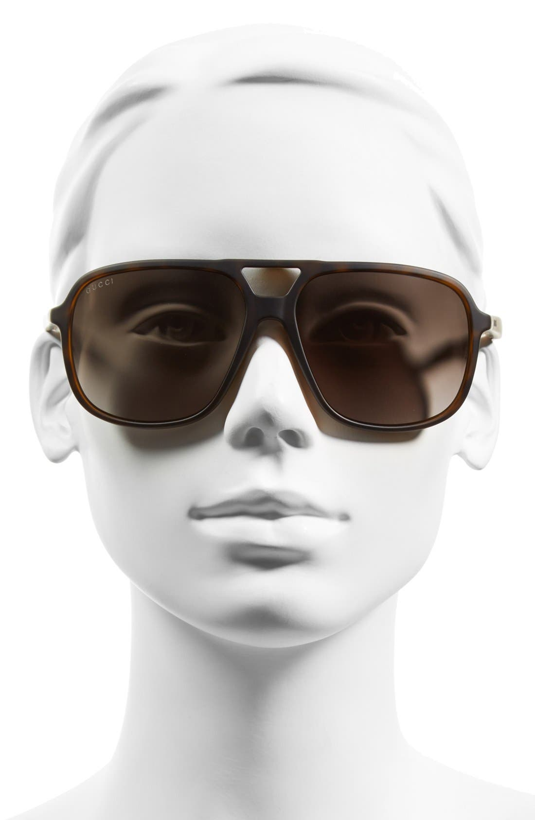 Alternate Image 2  - Gucci 60mm Aviator Sunglasses
