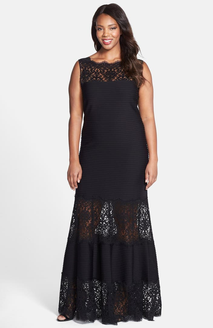 Snap Pintuck Jersey Gown with Sweetheart Illusion Neckline PLUS SIZE ...