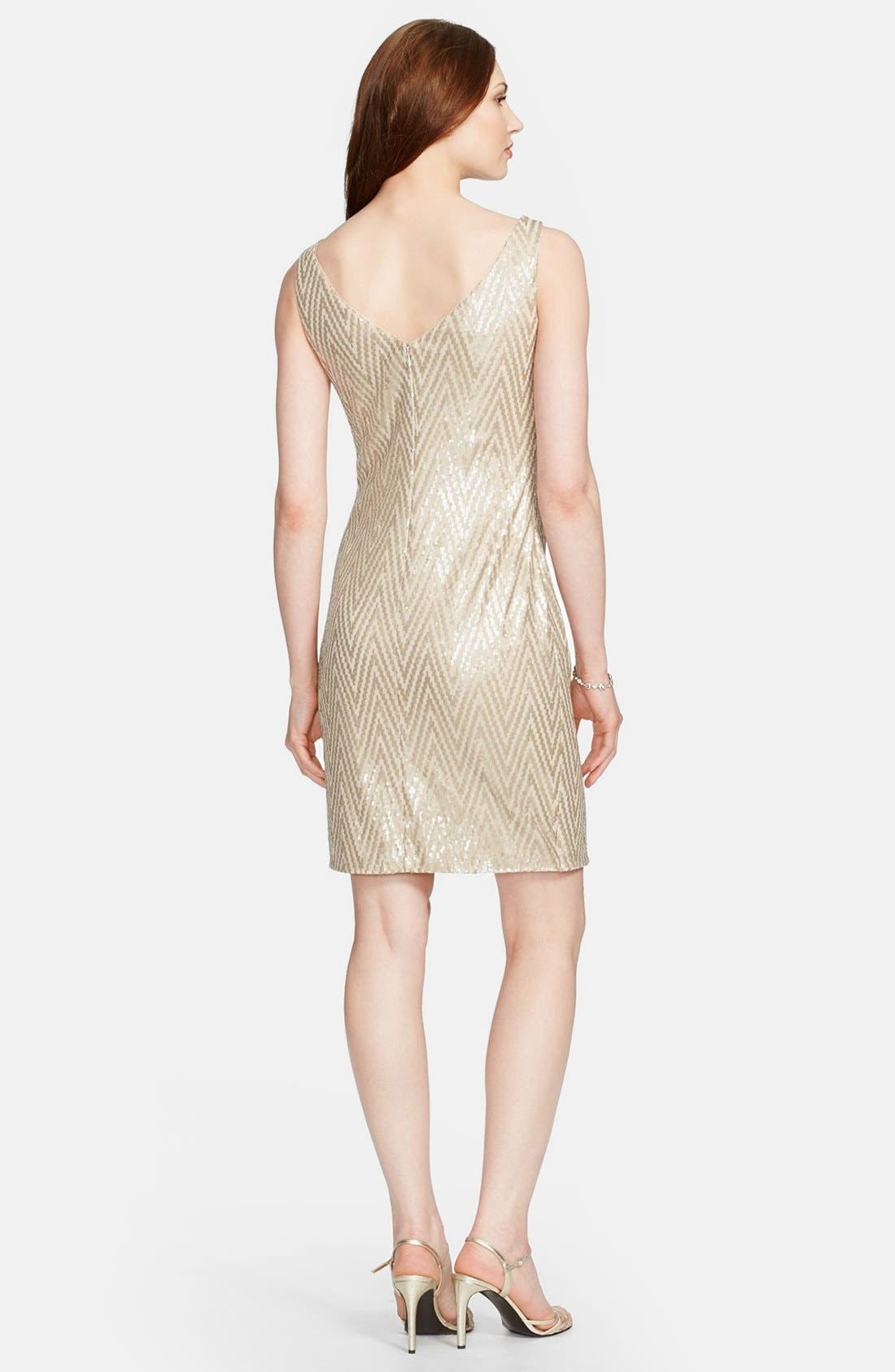 Alternate Image 2  - Lauren Ralph Lauren Chevron Sequin Sleeveless Dress