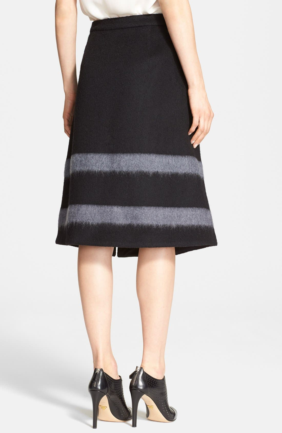 Alternate Image 2  - Tibi Stripe Felted Wool Blend A-Line Skirt