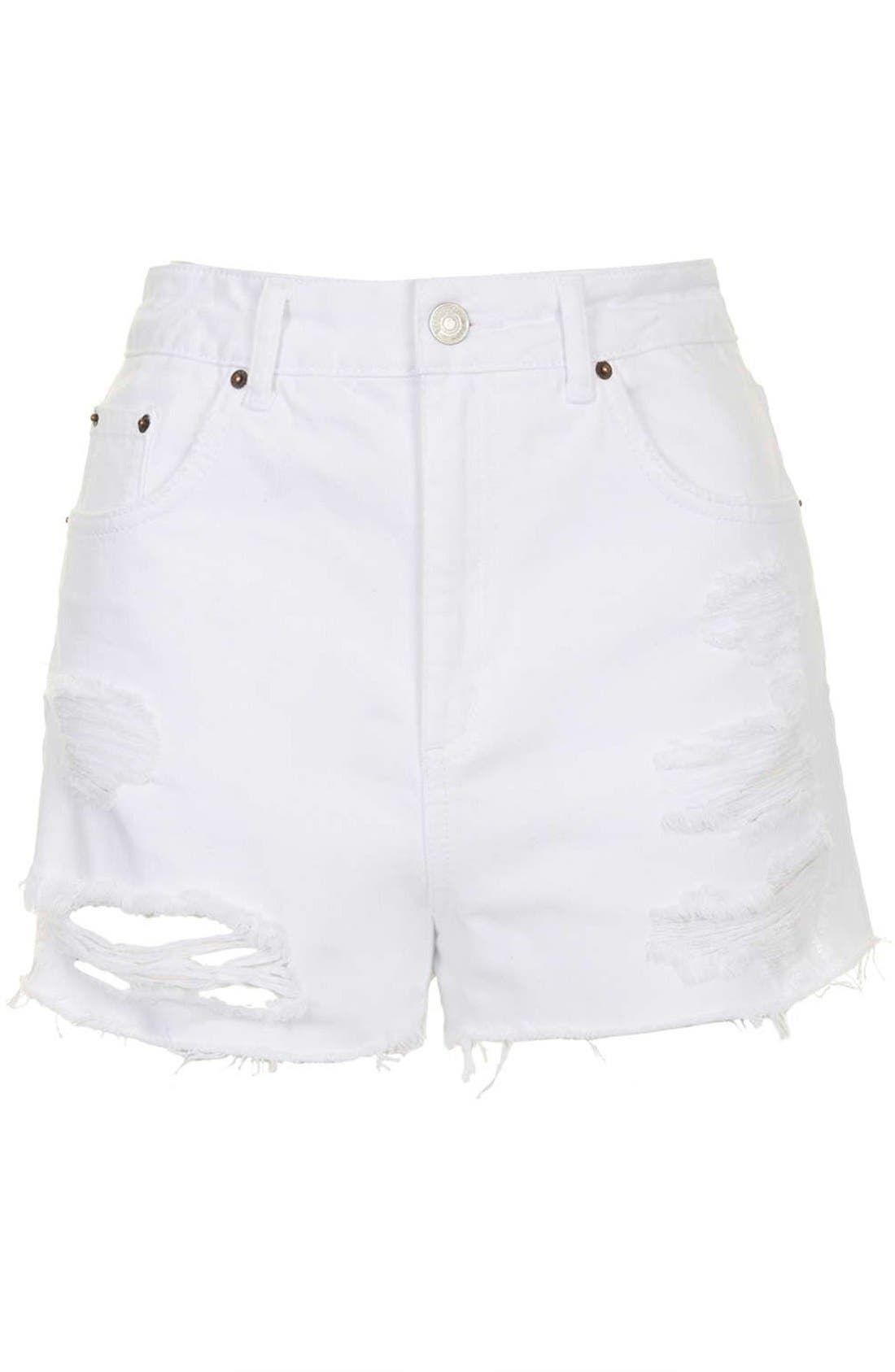 Alternate Image 3  - Topshop Moto White Denim Shorts