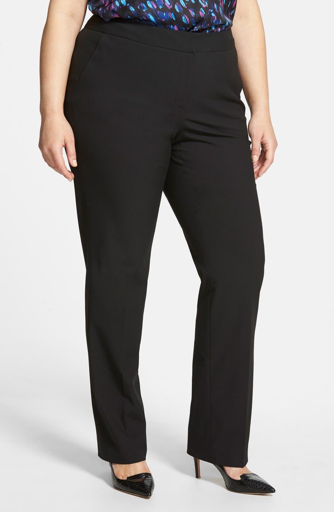 Alternate Image 1 Selected - Sejour 'Ela' Modern Fit Pants (Plus Size & Petite Plus)