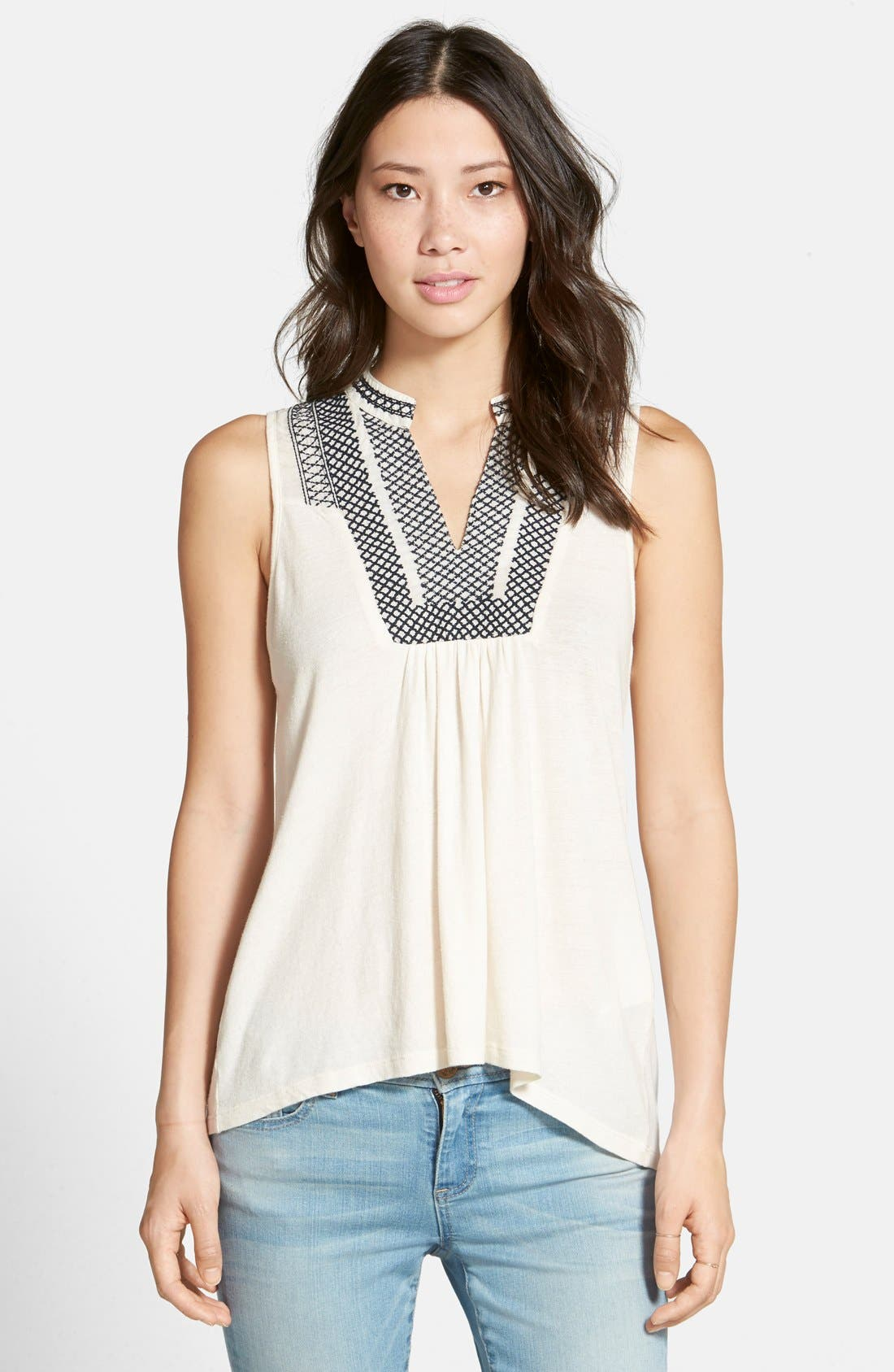 Main Image - Lucky Brand Cross Stitch Bib Tank