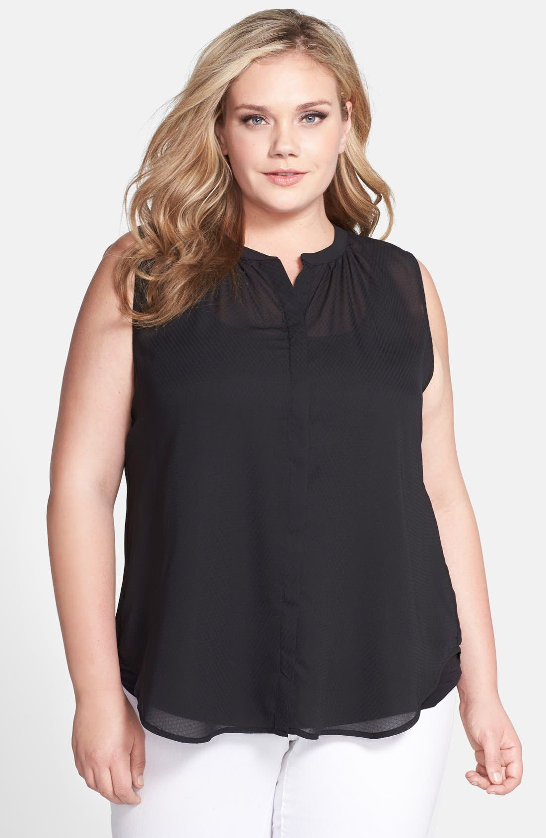 Main Image - Jessica Simpson 'Carmela' Stripe Sleeveless Blouse (Plus Size)