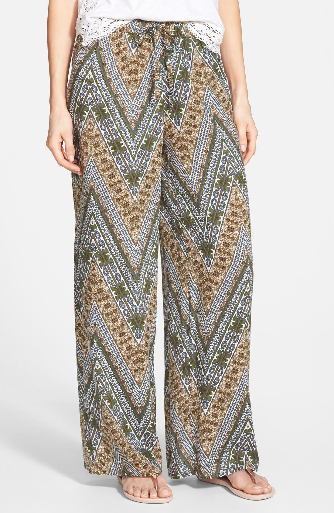 Alternate Image 1 Selected - Sun & Shadow Paisley Print Pants (Juniors)