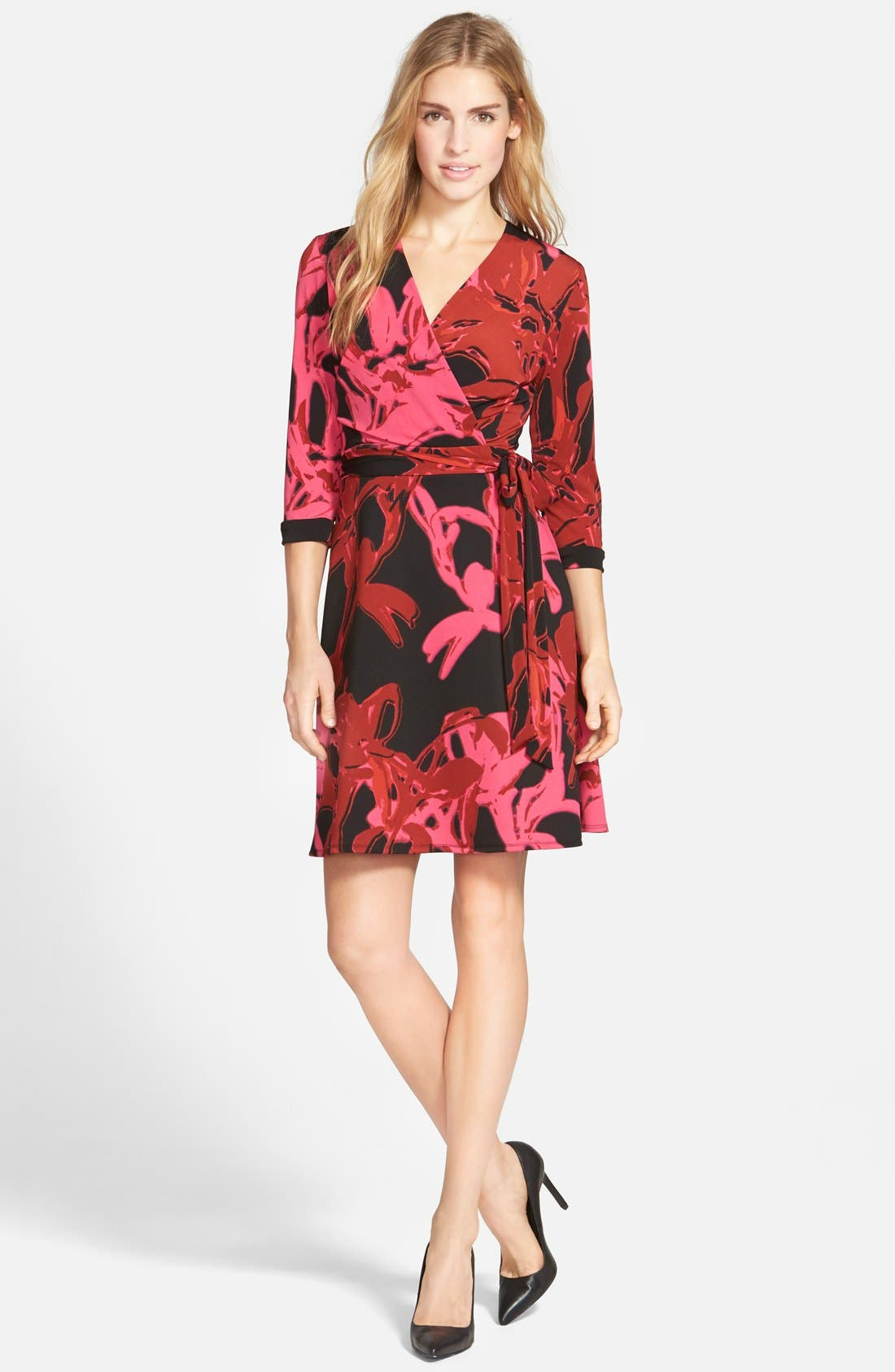 Alternate Image 3  - Taylor Dresses Print Jersey & Scuba Faux Wrap Dress (Regular & Petite)