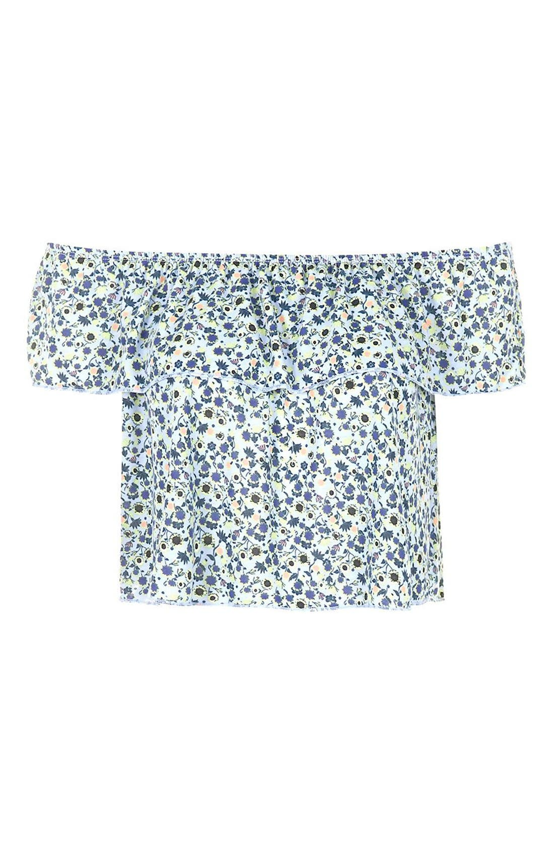 Alternate Image 4  - Topshop Floral Print Off the Shoulder Top