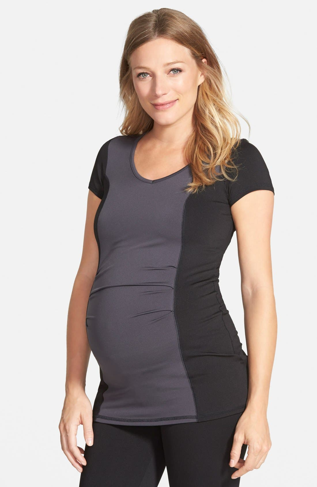 MATERNAL AMERICA Colorblock Maternity Top