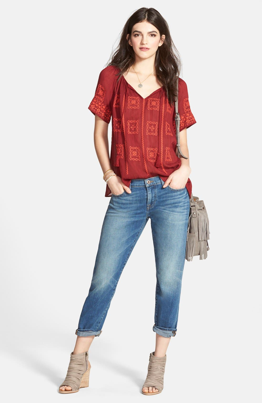 Alternate Image 4  - Lucky Brand Embroidered Split Neck Peasant Top