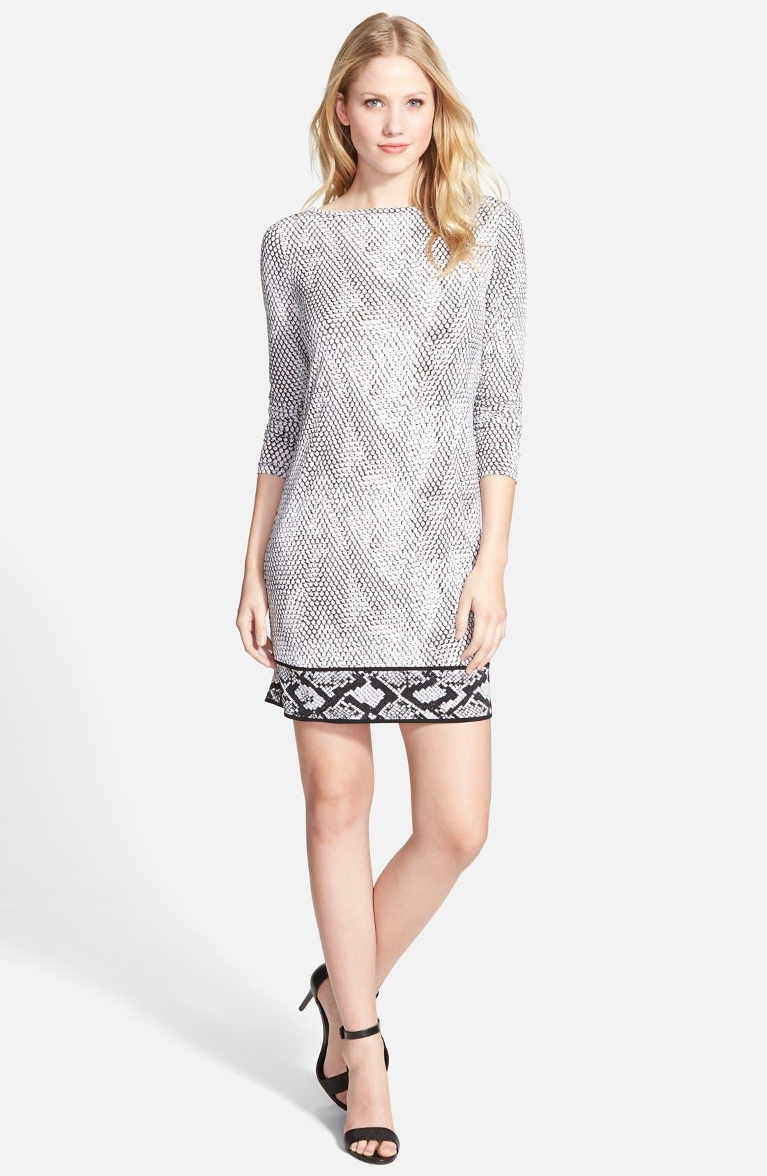 Main Image - MICHAEL Michael Kors Snakeskin Border Print Shift Dress (Regular & Petite)