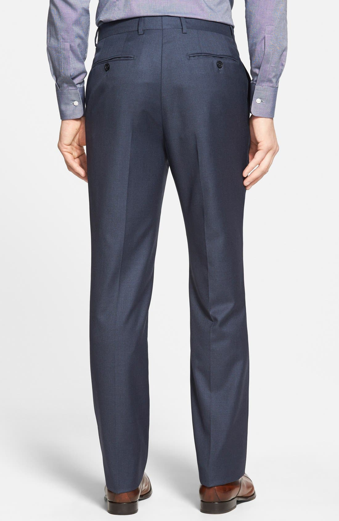 Alternate Image 2  - Santorelli Luxury Flat Front Wool Trousers