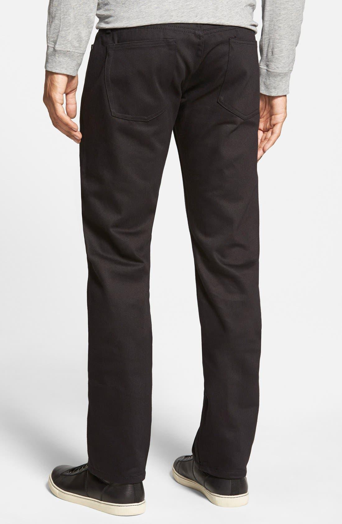 Alternate Image 2  - The Unbranded Brand 'UB255' Slim Tapered Fit Raw Selvedge Jeans (Black Selvedge)
