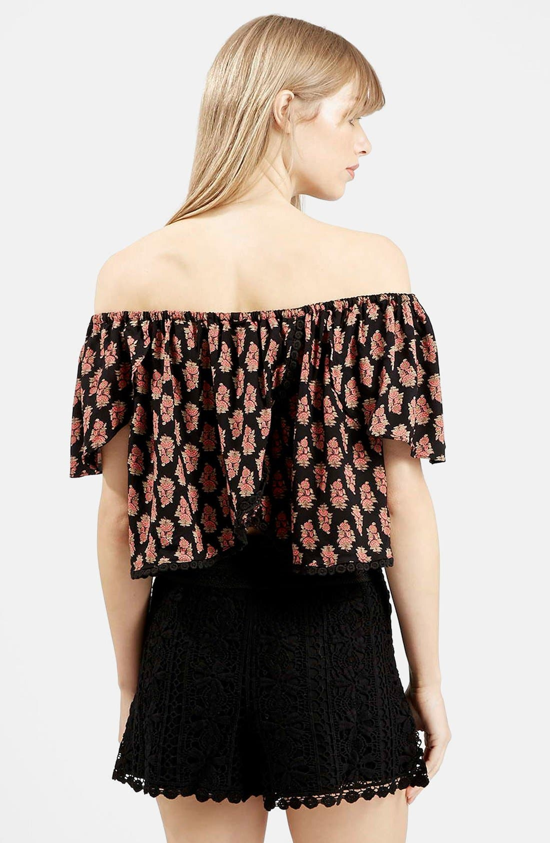 Alternate Image 2  - Topshop Tile Print Off the Shoulder Top