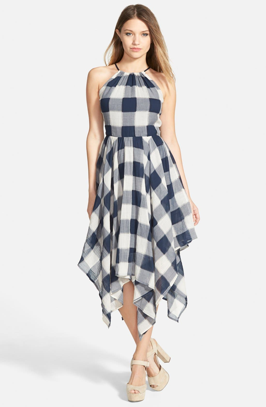 Alternate Image 1 Selected - Storee Handkerchief Hem Halter Dress