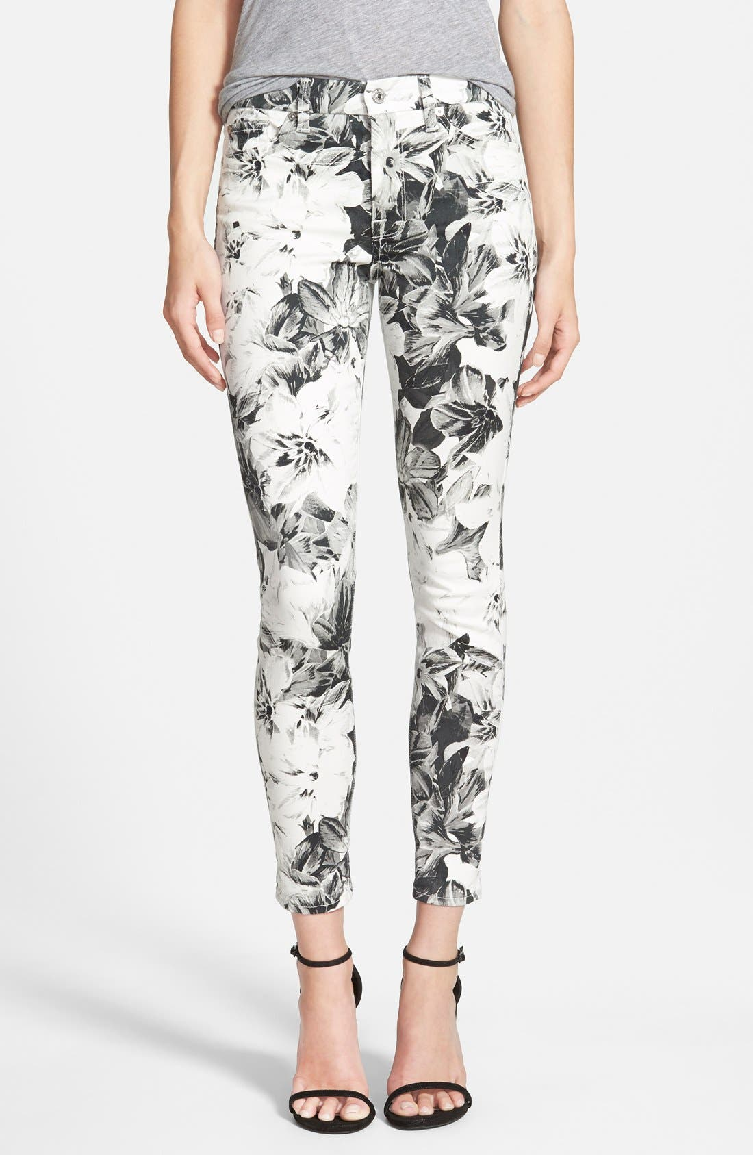 Main Image - 7 For All Mankind® High Waist Ankle Skinny Jeans (X-Ray Floral)