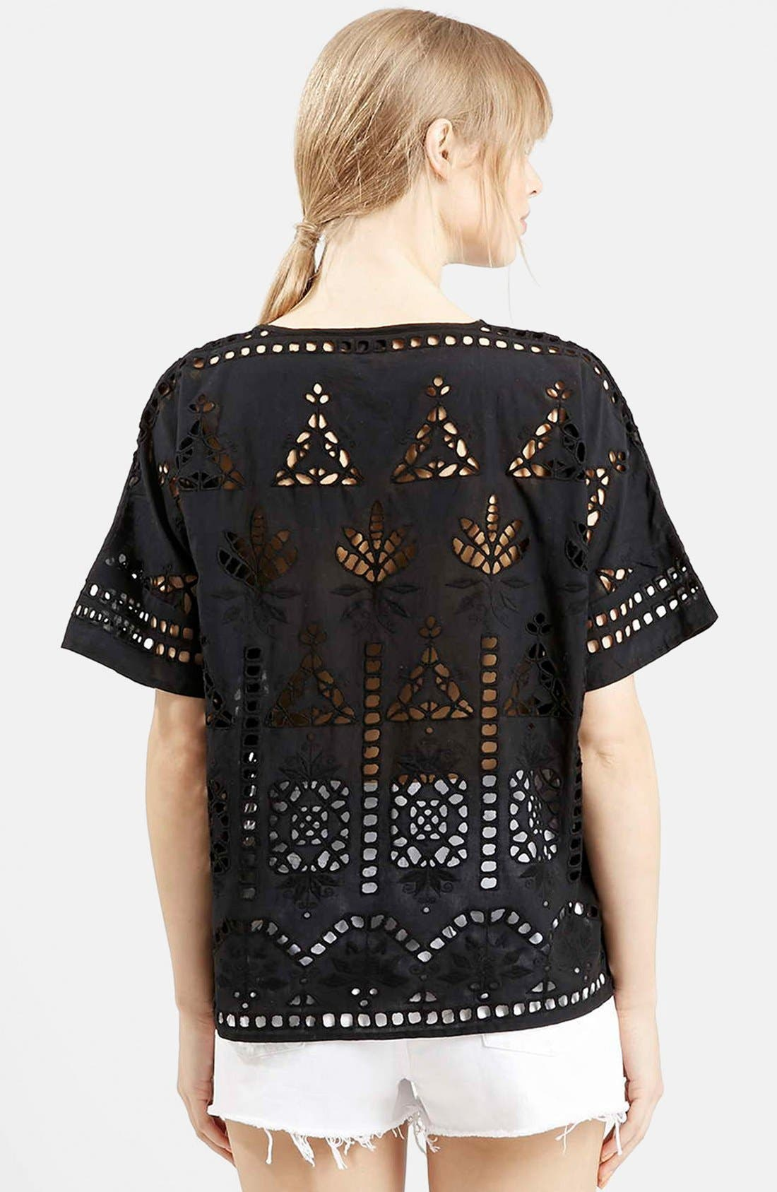 Alternate Image 2  - Topshop Embroidered Cutout Tee