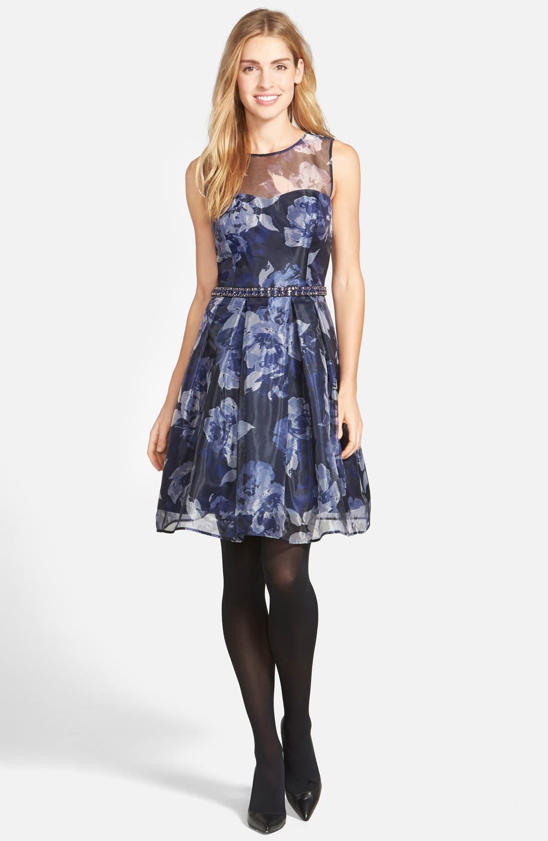 Alternate Image 6  - Eliza J Embellished Print Illusion Yoke Organza Fit & Flare Dress (Regular & Petite)