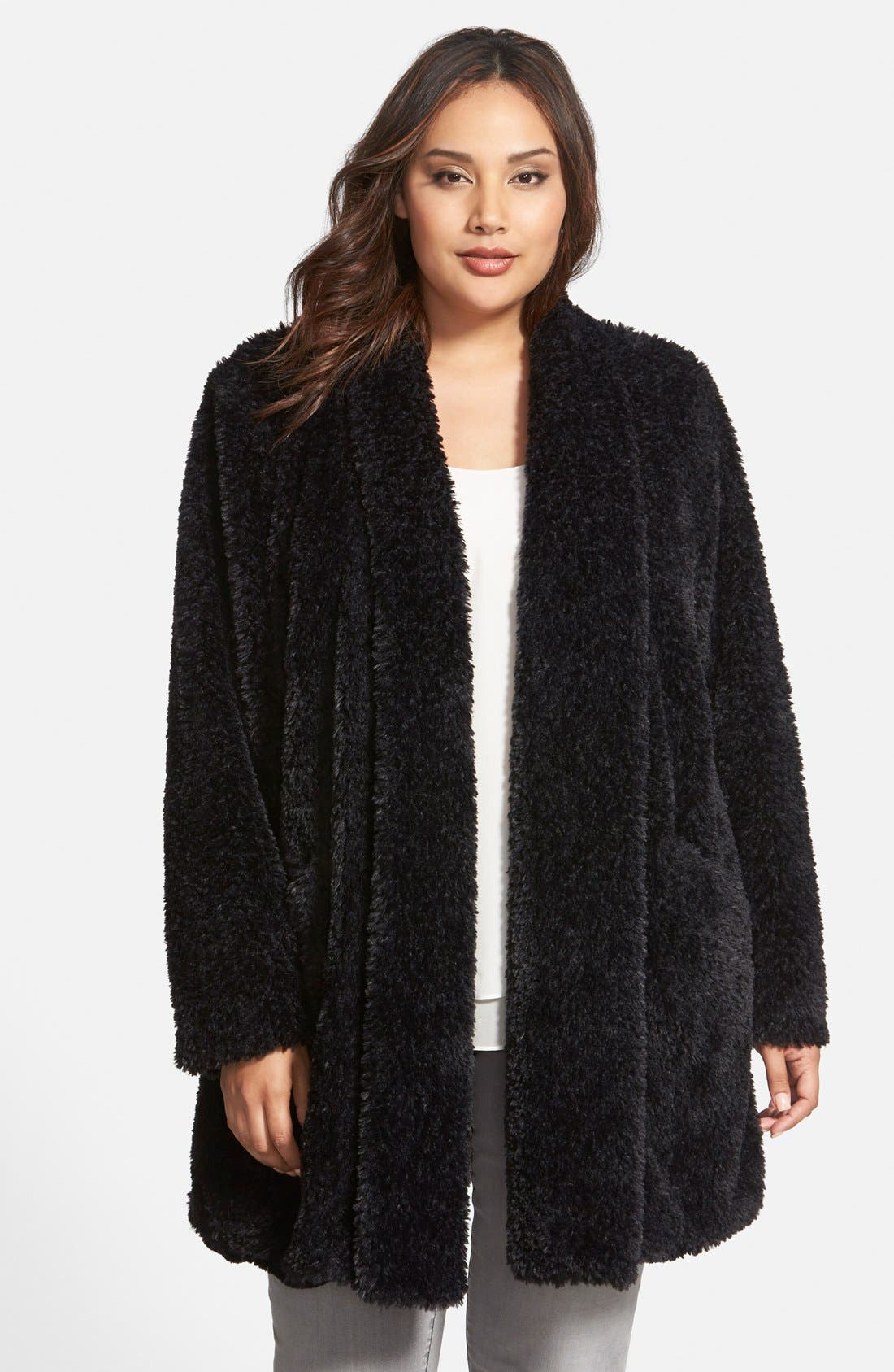 Alternate Image 1 Selected - Kenneth Cole New York 'Teddy Bear' Faux Fur Clutch Coat (Plus Size)