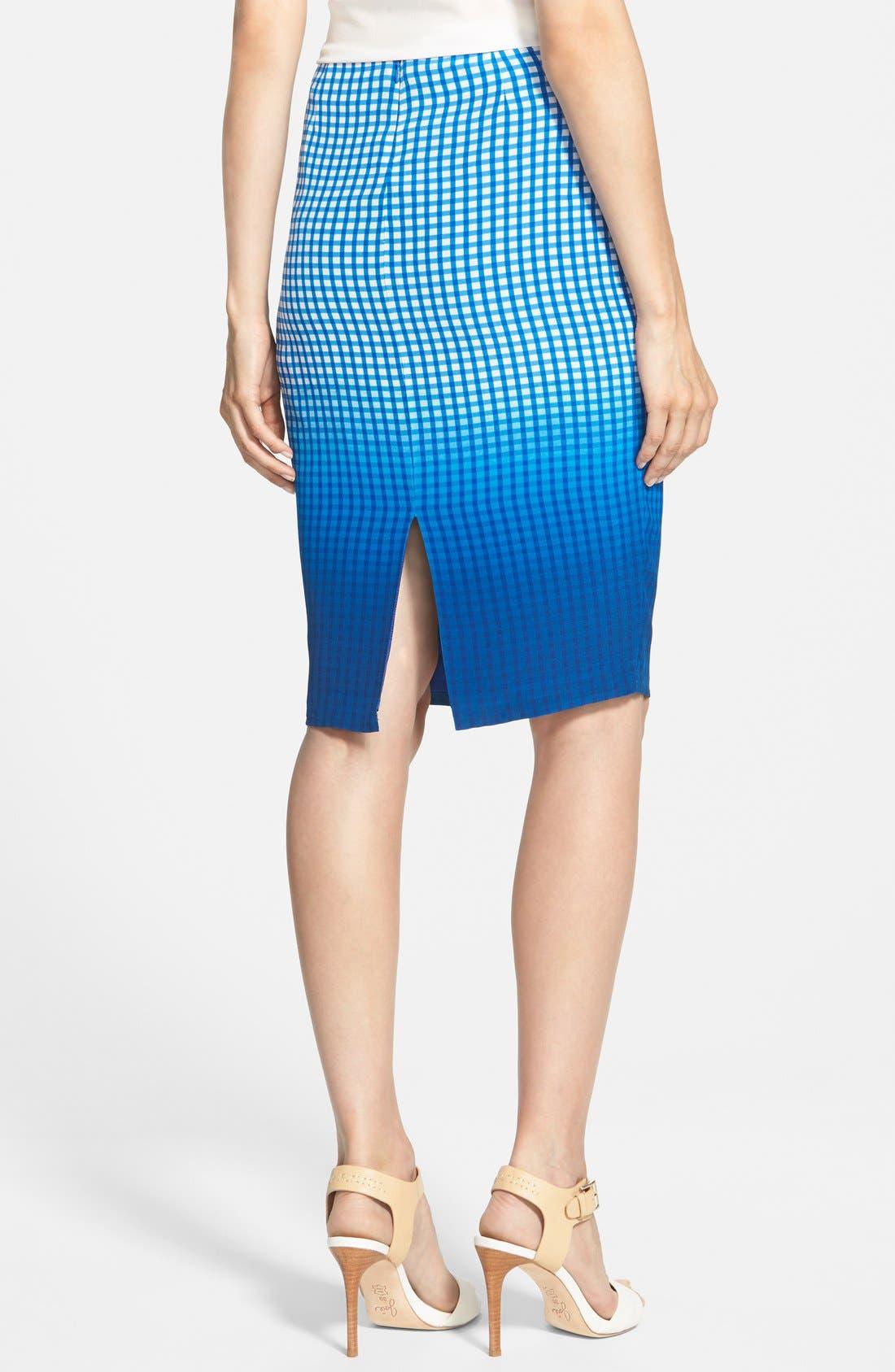 Alternate Image 2  - Bailey 44 'Astley' Dip Dye Check Silk Pencil Skirt