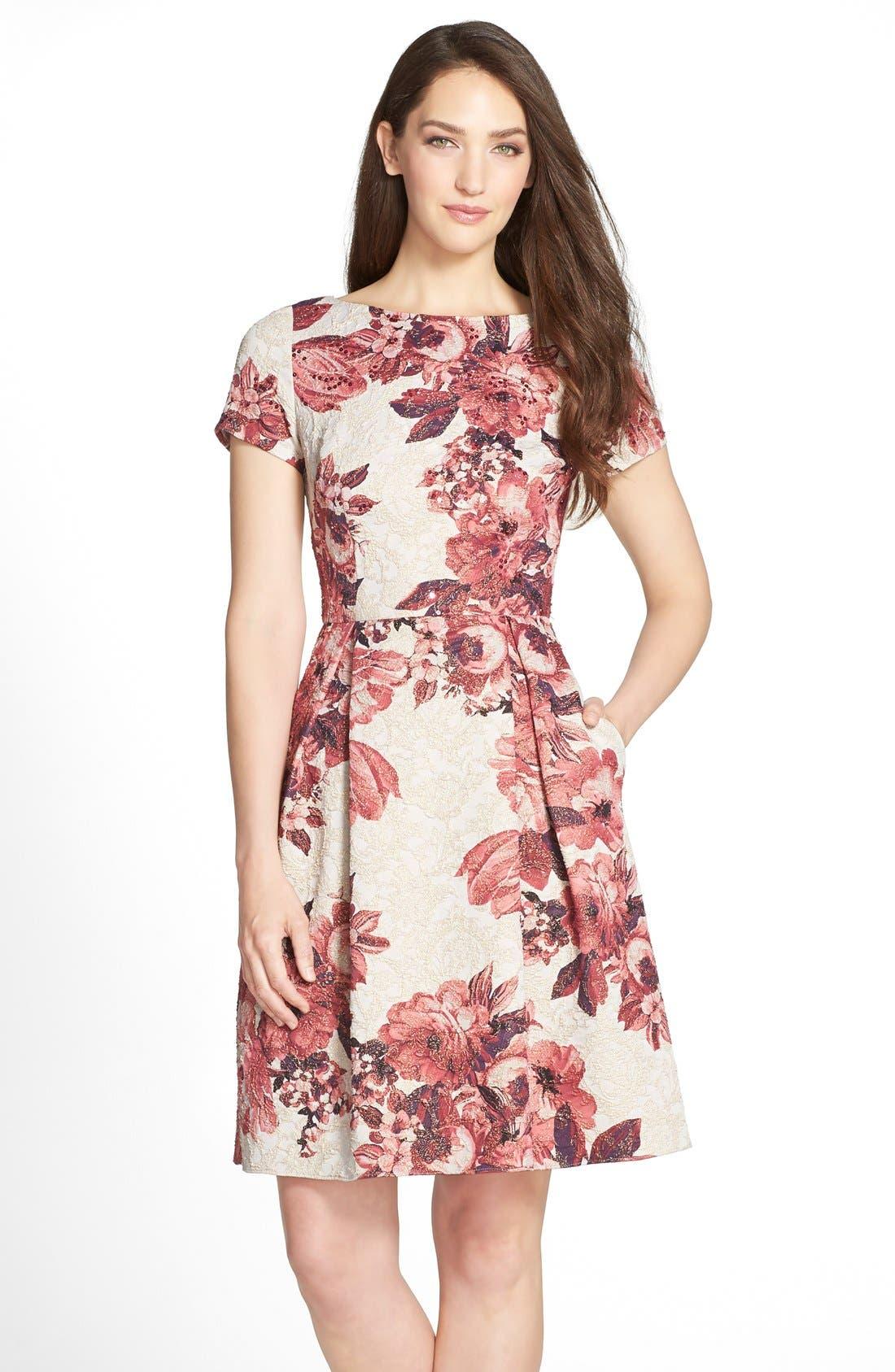 Main Image - Adrianna Papell Floral Matelassé Fit & Flare Dress (Regular & Petite)
