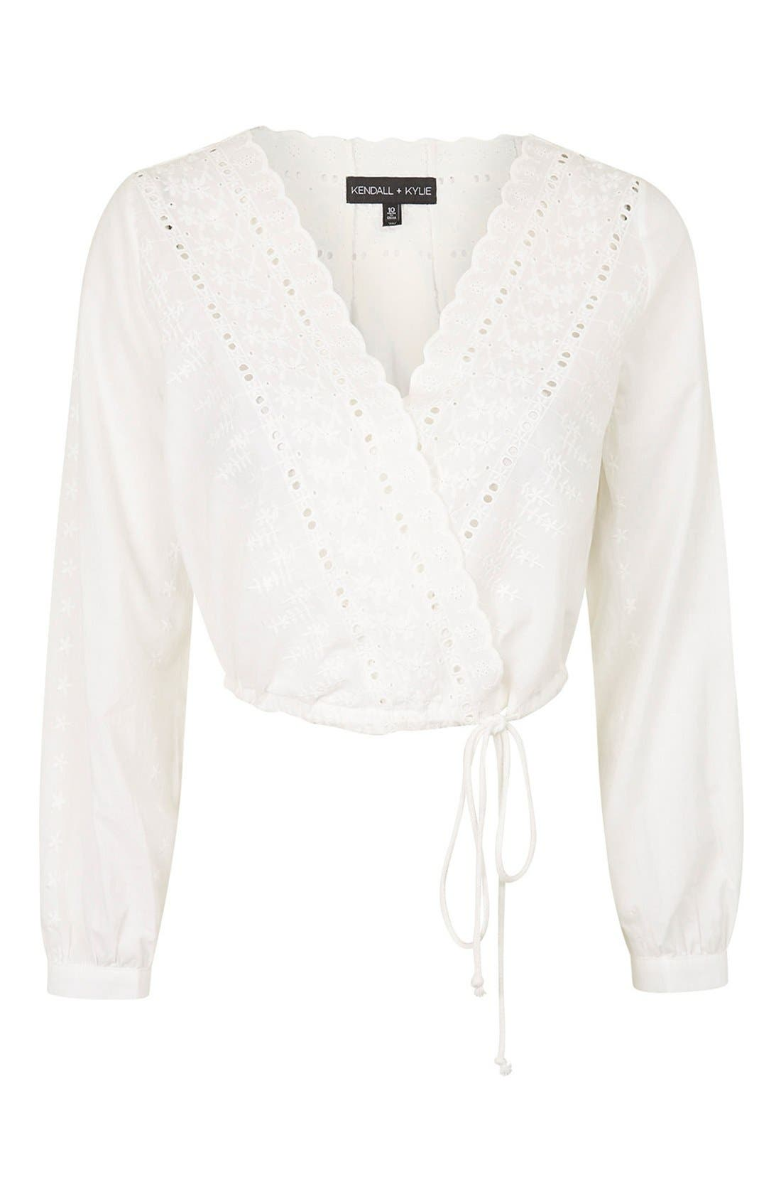 Alternate Image 4  - KENDALL + KYLIE at Topshop Embroidered Surplice Top