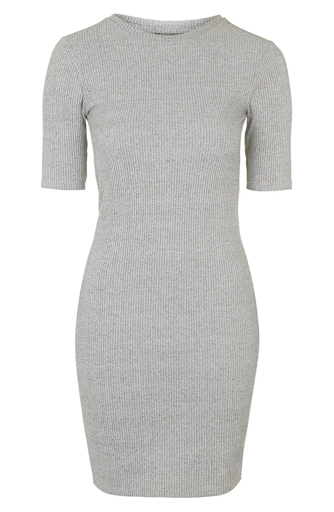 Alternate Image 1 Selected - Topshop Half Sleeve Ribbed Body-Con Dress