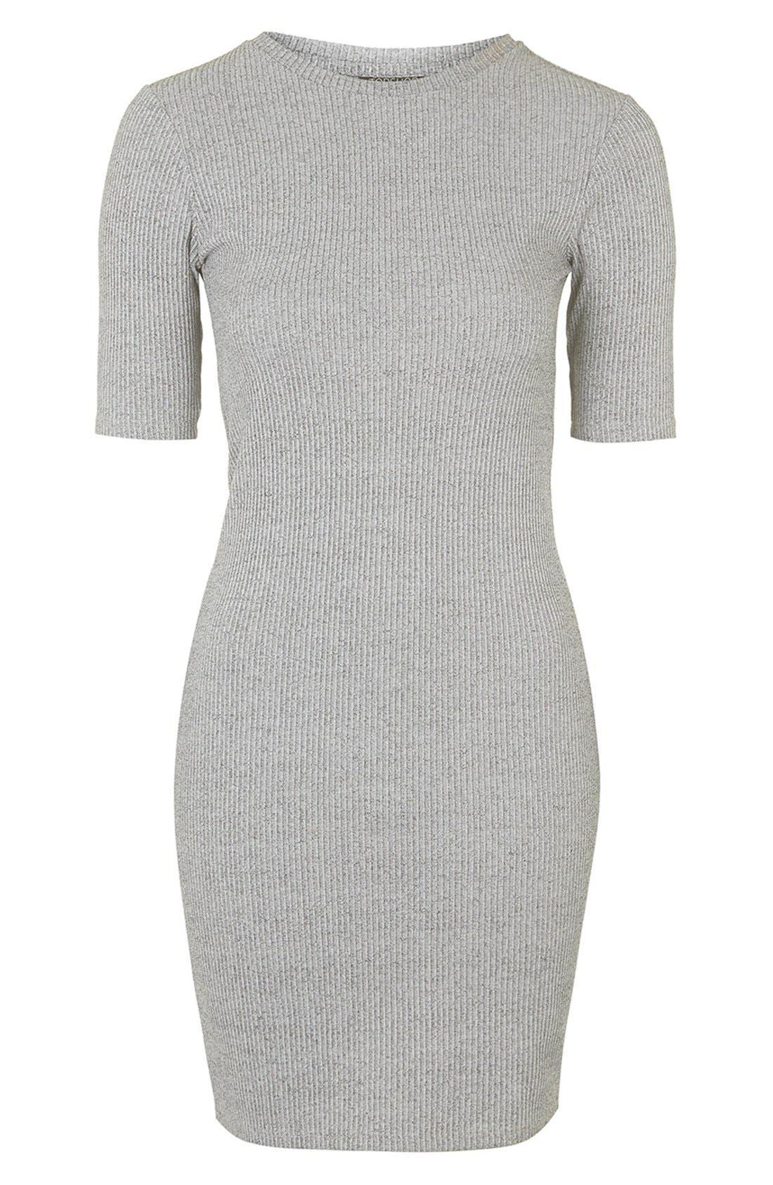 Main Image - Topshop Half Sleeve Ribbed Body-Con Dress