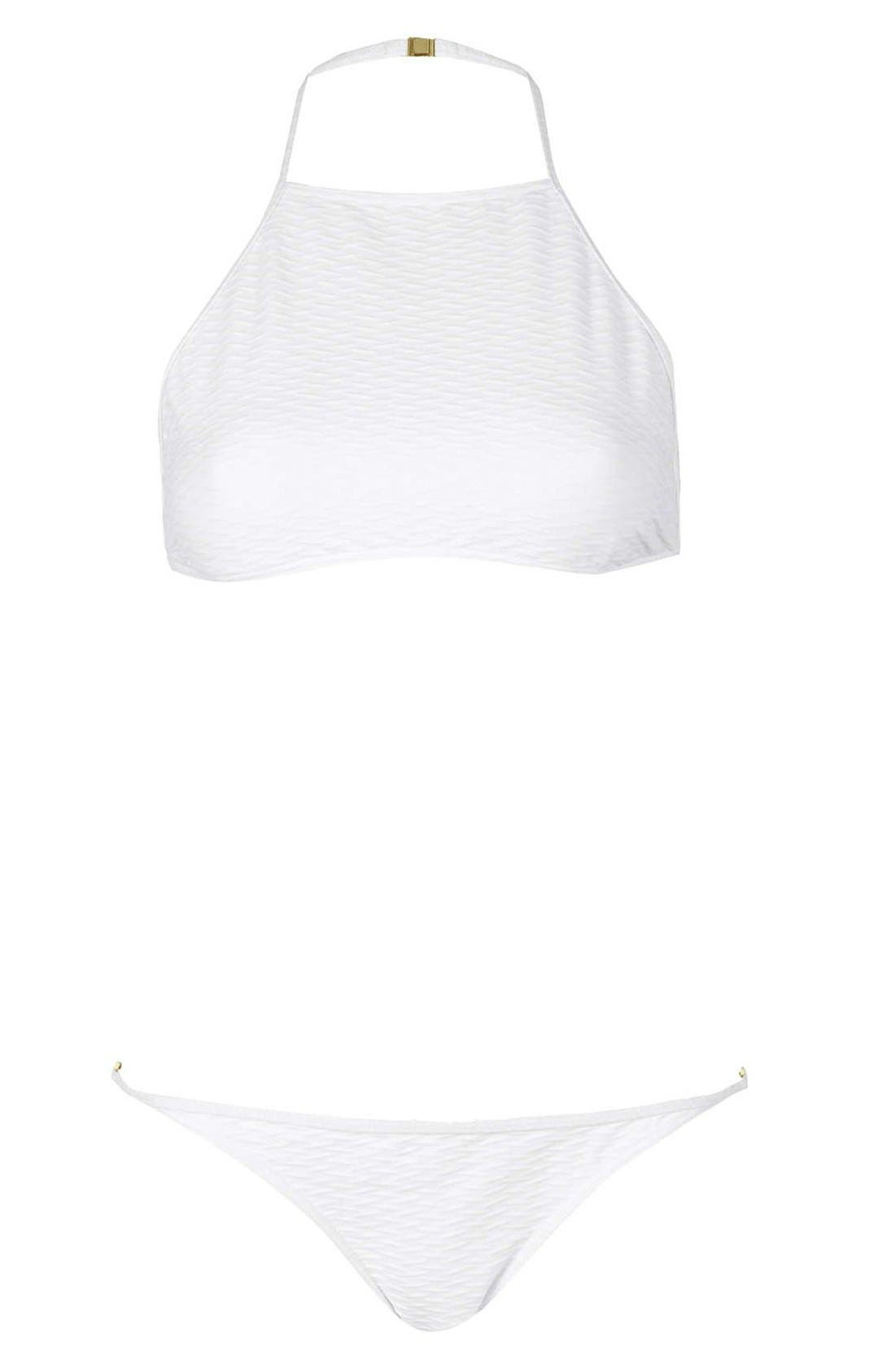 Alternate Image 3  - Topshop Textured Halter Bikini