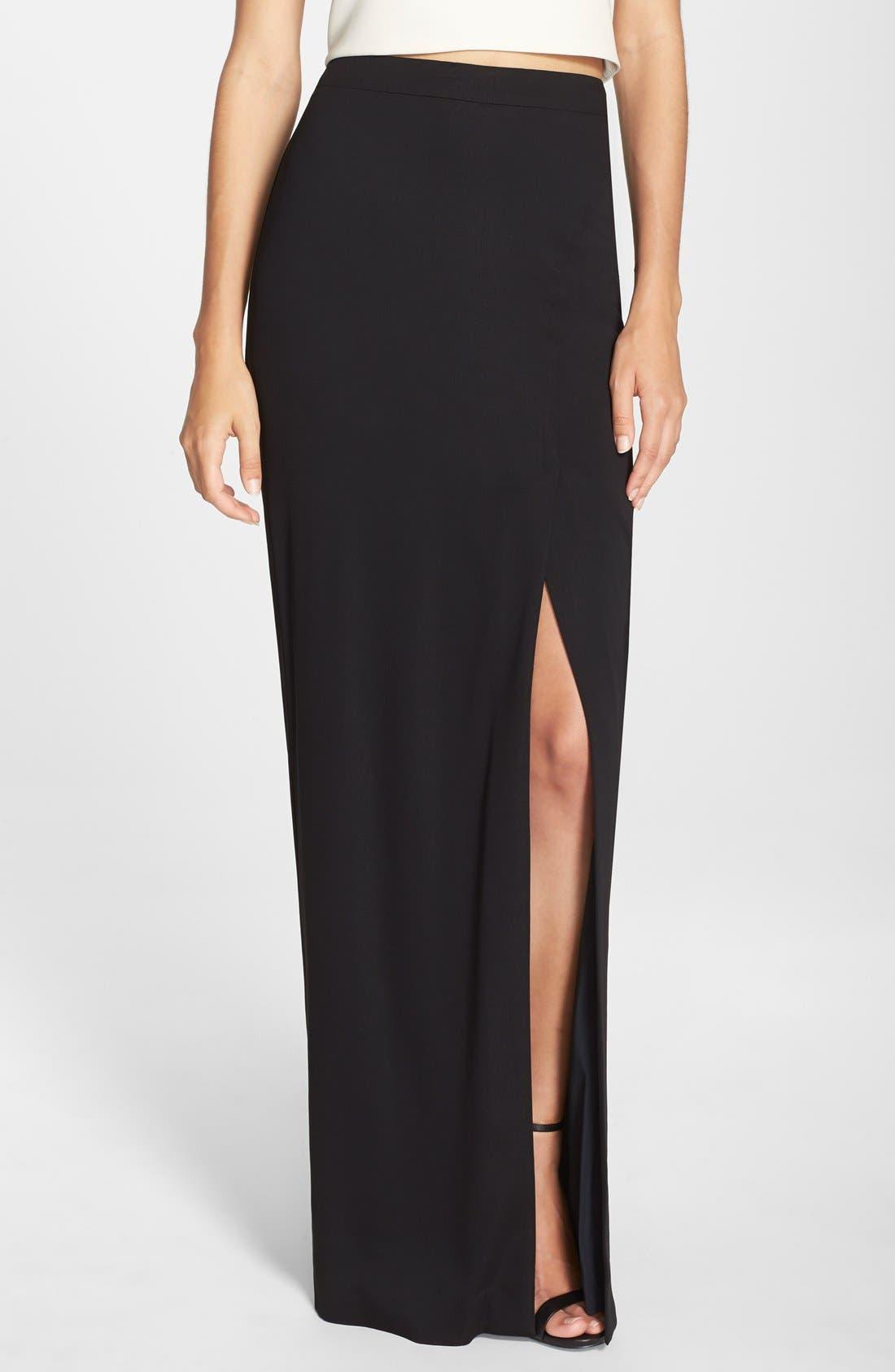 Main Image - Nicole Miller Front Slit Stretch Crepe Maxi Skirt