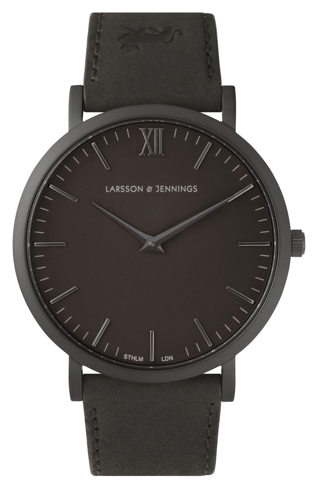 Alternate Image 1 Selected - Larsson & Jennings 'Lugano' Leather Strap Watch, 40mm