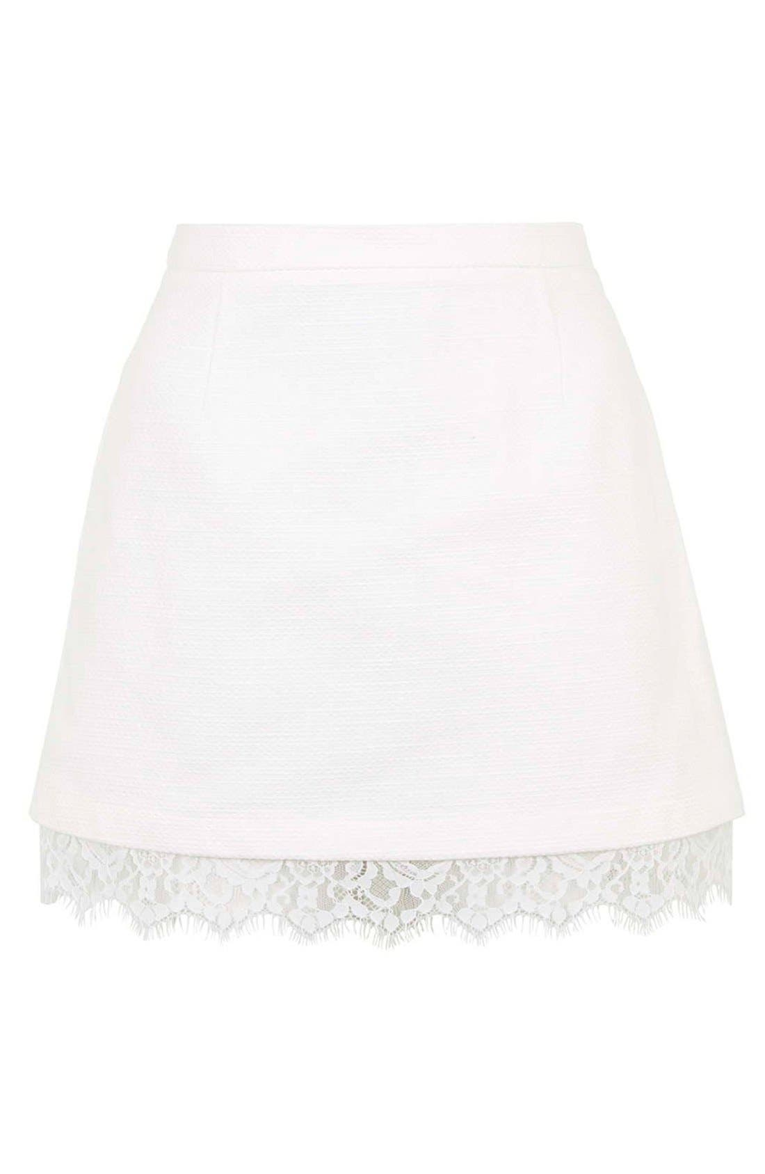 Alternate Image 3  - Topshop Textured Lace Hem Miniskirt