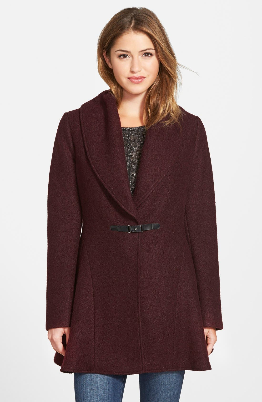 Main Image - kensie Shawl Collar Fit & Flare Coat