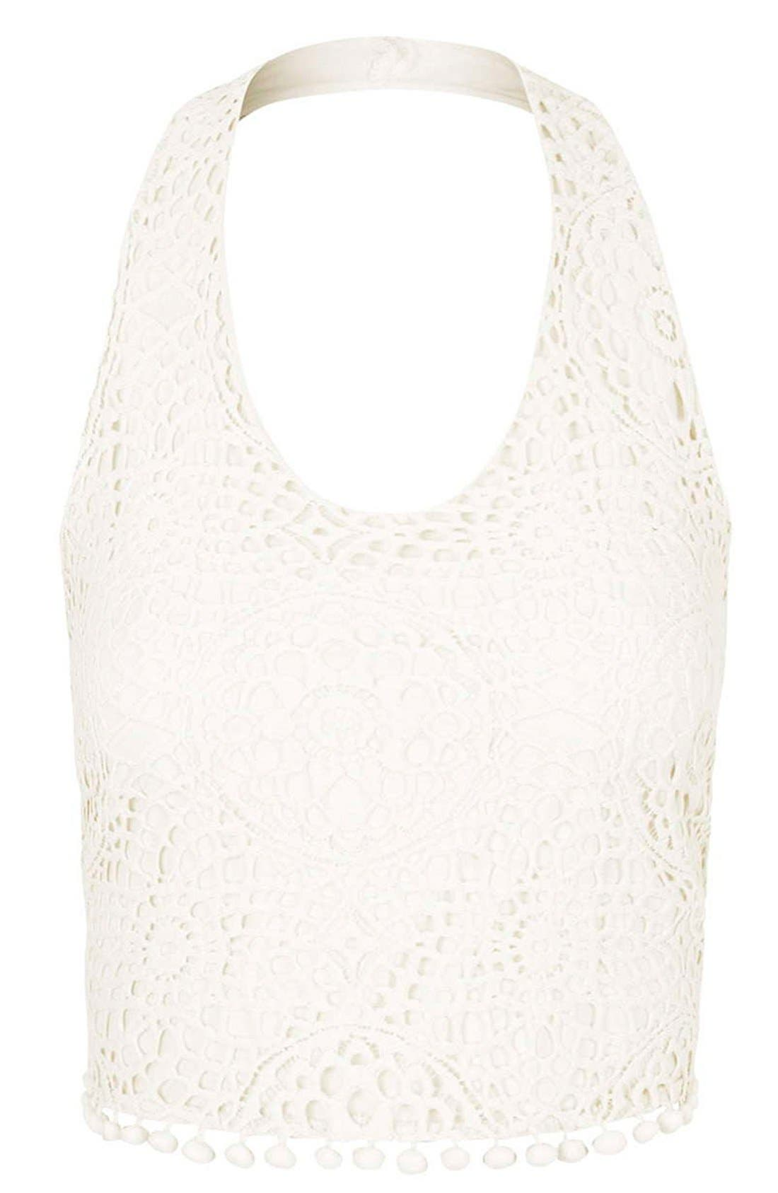 Alternate Image 3  - Topshop Crochet Halter Neck Top