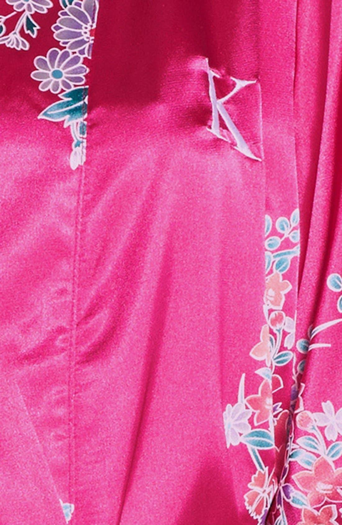Alternate Image 3  - Cathy's Concepts Monogram Floral Satin Robe