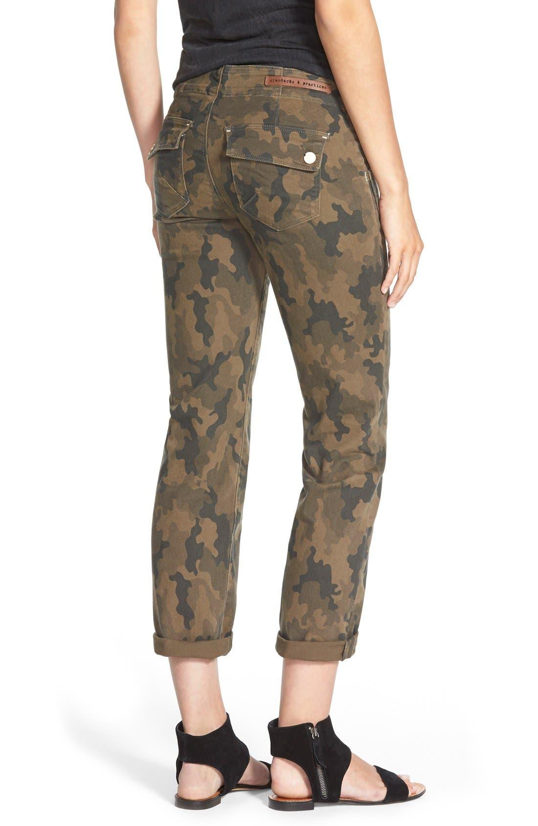 Alternate Image 2  - Standards & Practices Camo Print Crop Boyfriend Jeans (Camo)