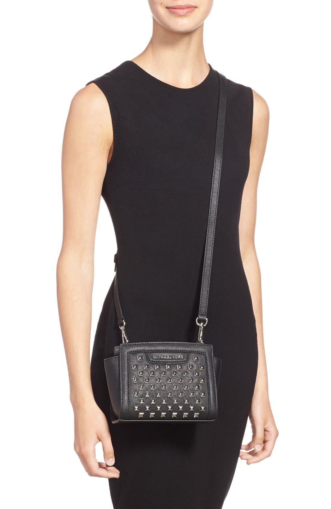 Alternate Image 2  - MICHAEL Michael Kors 'Mini Selma' Studded Saffiano Leather Crossbody Bag