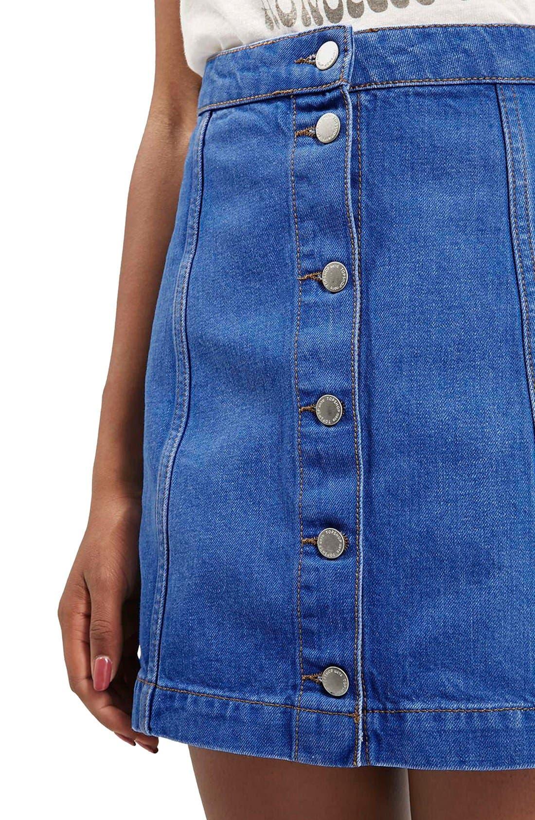 Alternate Image 5  - Topshop Moto Button Front A-Line Skirt (Bright Blue)