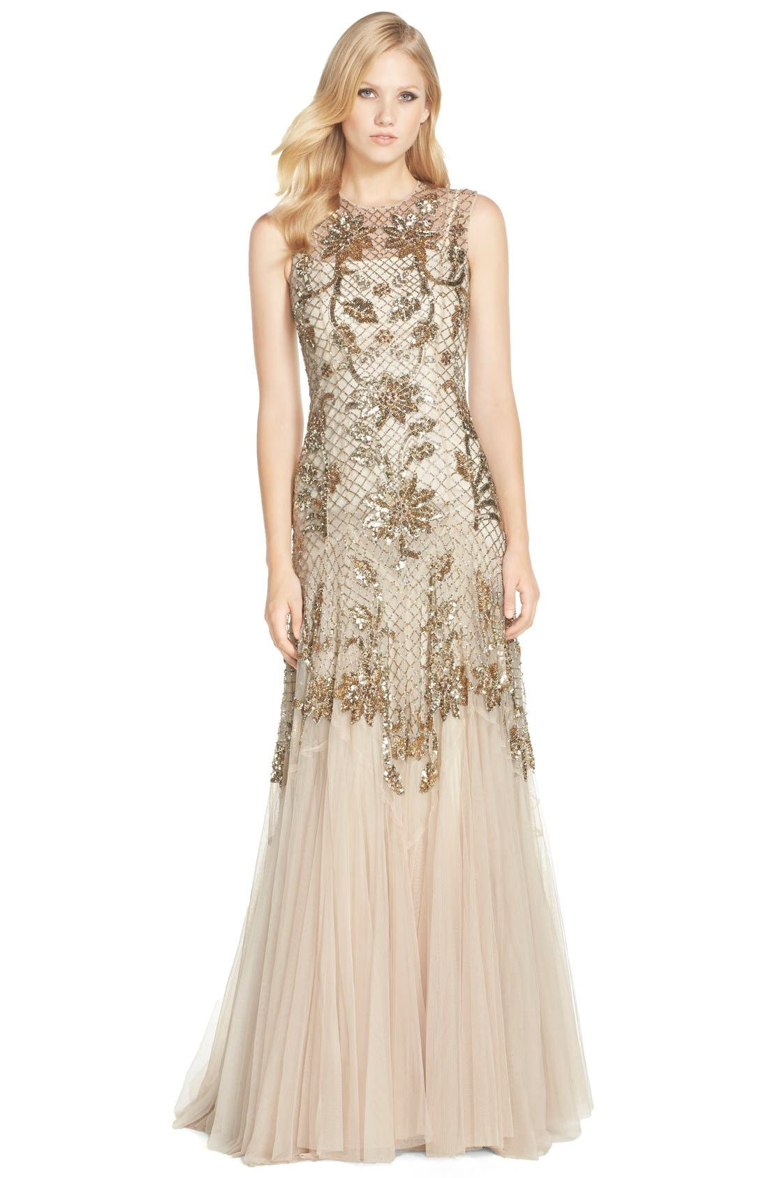 Main Image - Needle & Thread Embellished Mesh Gown