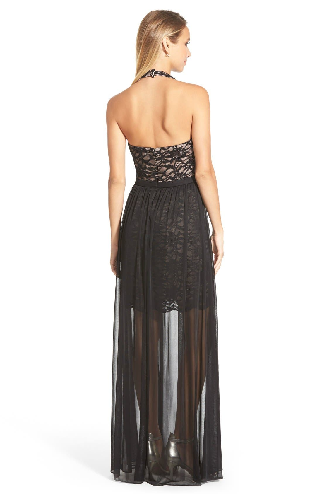 Alternate Image 2  - Morgan & Co. Glitter Lace Halter Gown