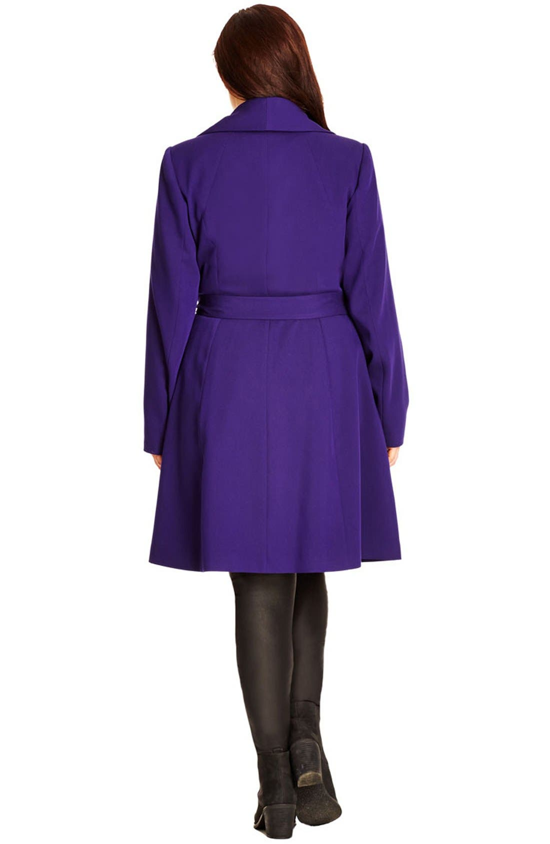 Alternate Image 2  - City Chic 'So Chic' Colored Trench Coat (Plus Size)